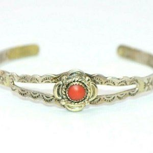 Sterling Silver Southwestern Red Coral Cuff Child